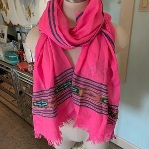 J. Crew Neon Pink Wool Scarf